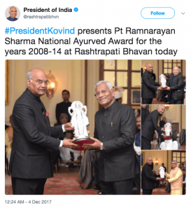 President of India presents Pt. Ramnarayan Sharma National Ayurved Award  273x300 - President of India presents Ayurved Awards to 7 eminent scholars