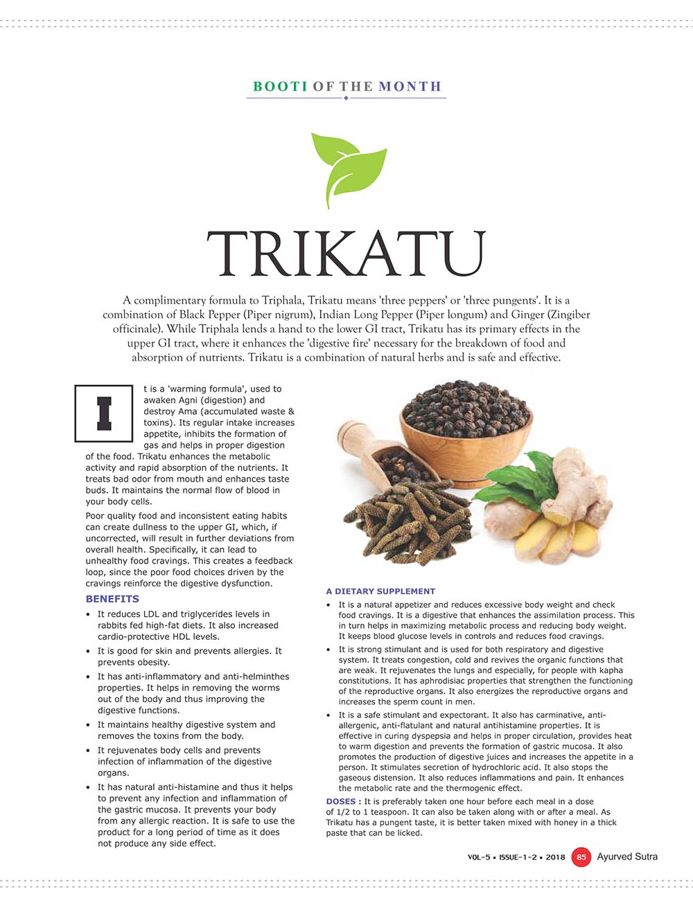 Ayurvedsutra Vol 05 issue 01 02 87 - Booti of the Month : Trikatu