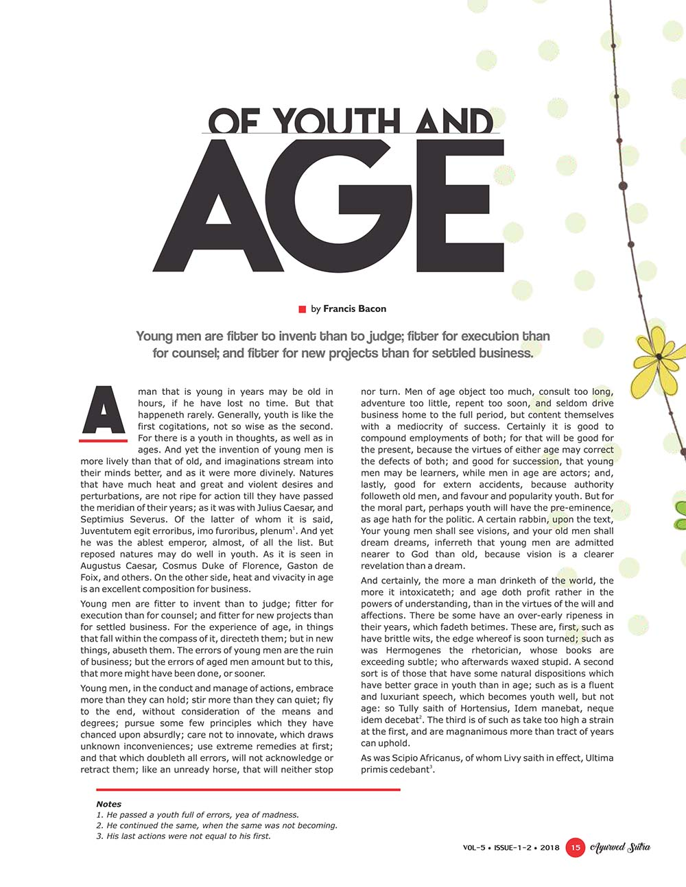 Ayurvedsutra Vol 05 issue 01 02 17 - Of Youth and Age