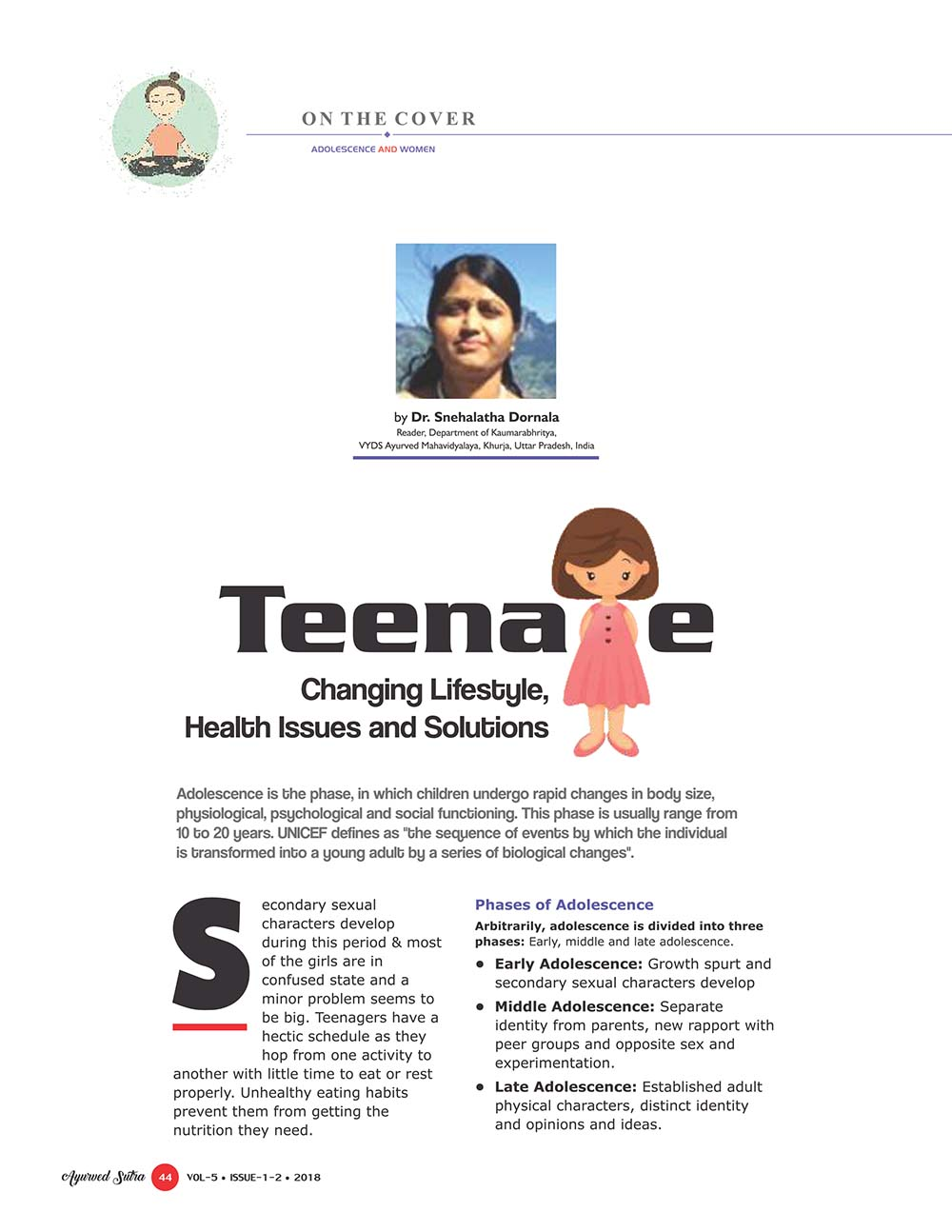 Ayurvedsutra Vol 05 issue 01 02 46 - Teenage: Changing Lifestyle, Health Issues and Solutions