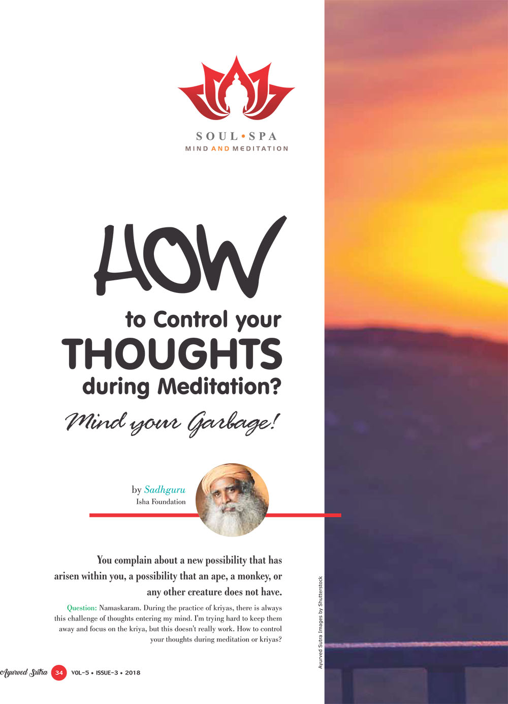 Ayurvedsutra Vol 05 issue 03 36 - How to Control your Thoughts during Meditation?