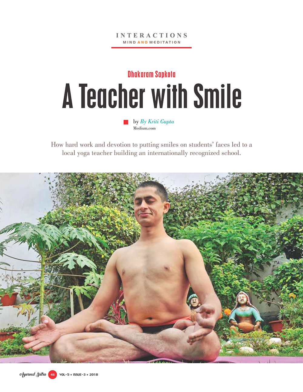 Ayurvedsutra Vol 05 issue 03 48 - Dhakaram Sapkota: A Teacher with Smile