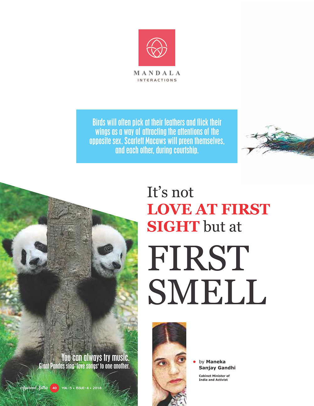 Ayurvedsutra Vol 05 issue 04 42 - It's not love at first sight but at first smell.