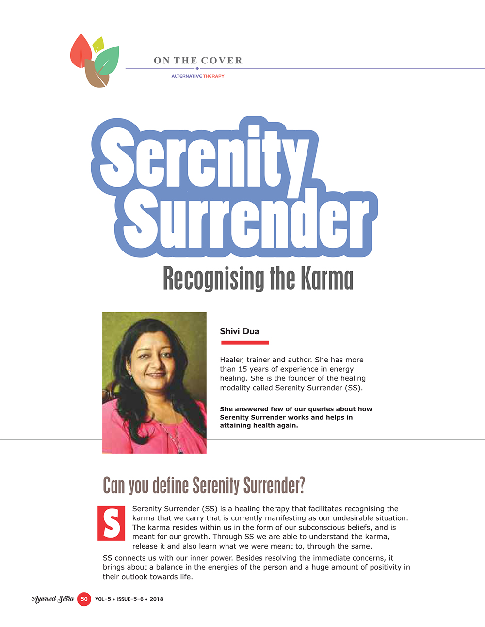 Ayurvedsutra Vol 05 issue 05 06 52 - Serenity Surrender:  Recognising the Karma