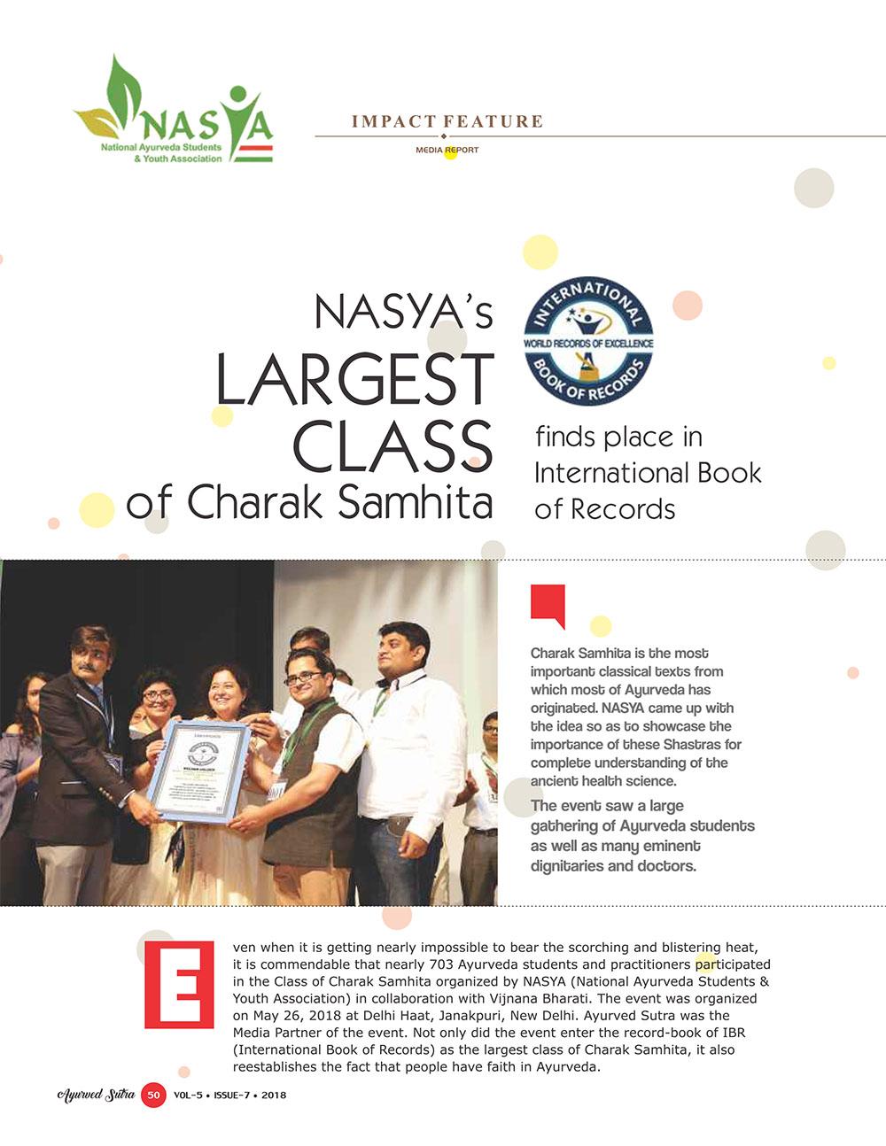 Ayurvedsutra Vol 05 issue 07 52 - NASYA's Largest Class of Charak Samhita