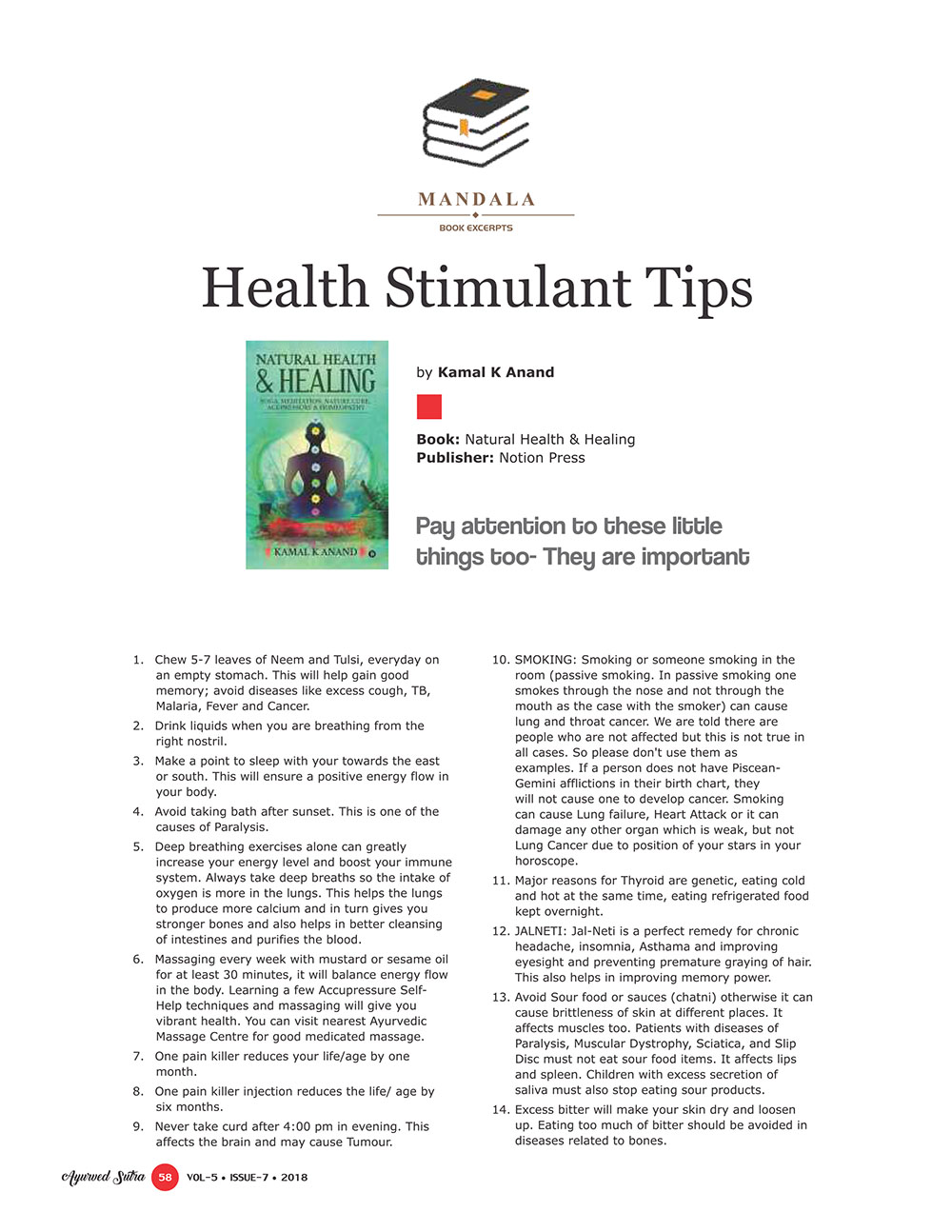Ayurvedsutra Vol 05 issue 07 60 - Health Stimulant Tips