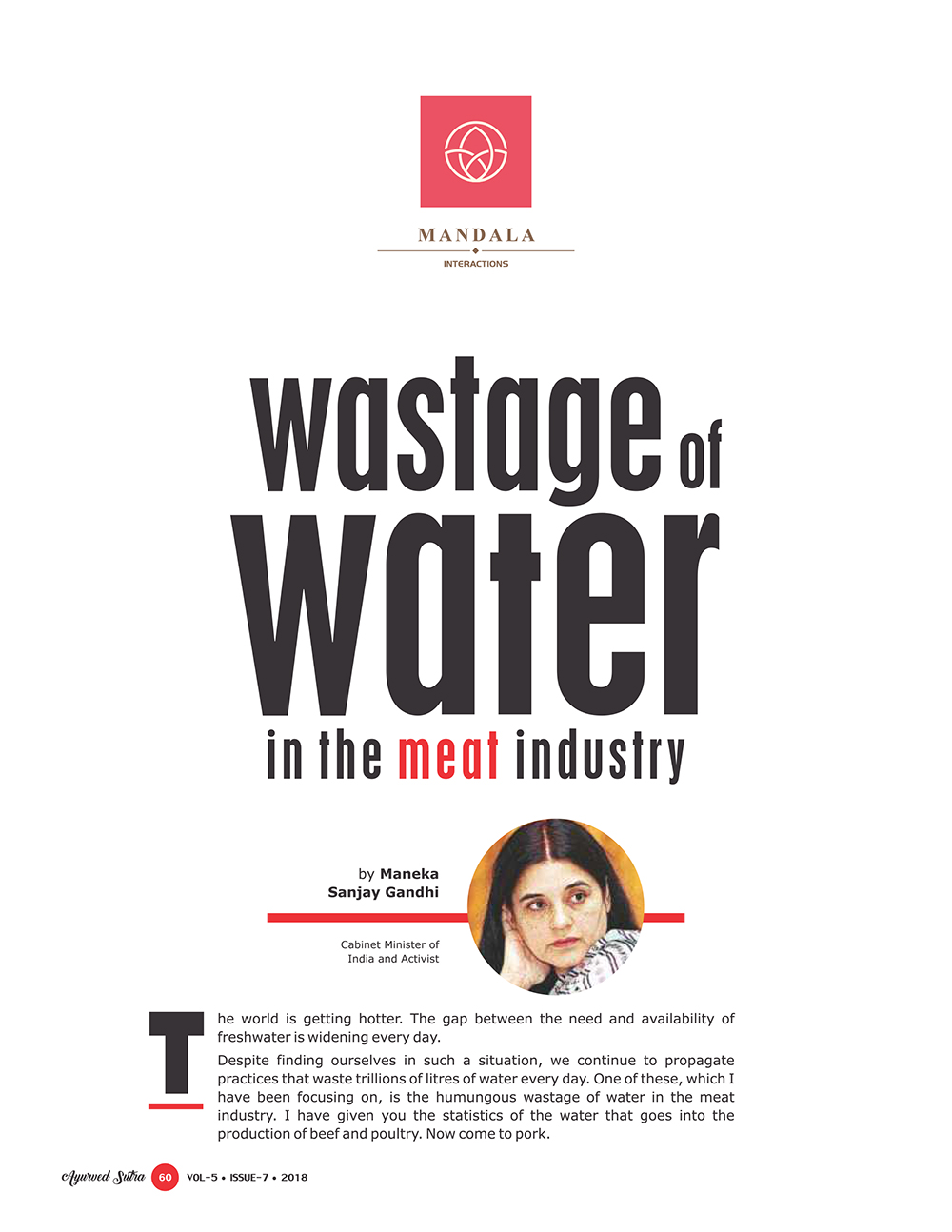 Ayurvedsutra Vol 05 issue 07 62 - Wastage of water in the meat industry