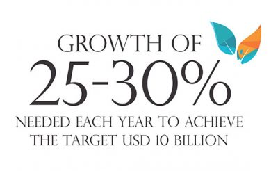 Growth of 25-30 per cent  needed each year to achieve  the target USD 10 Billion
