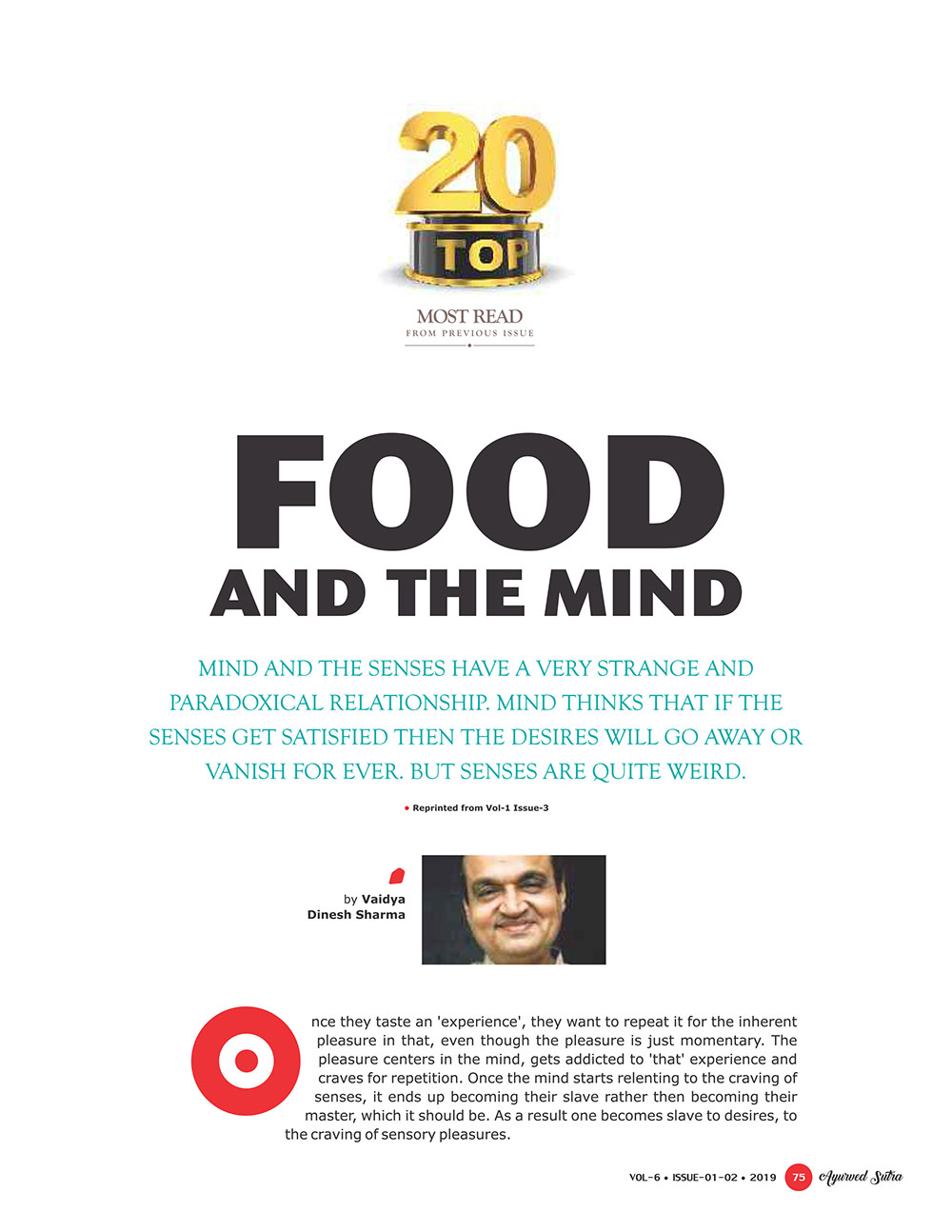 Ayurvedsutra Vol 06 issue 01 02 77 - Food and the Mind