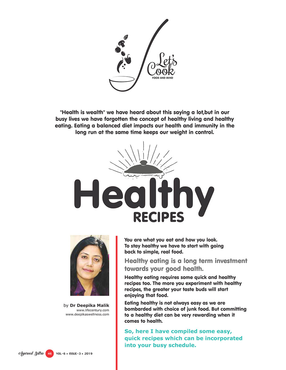 Ayurvedsutra Vol 06 issue 01 02 48 - Healthy Recipes