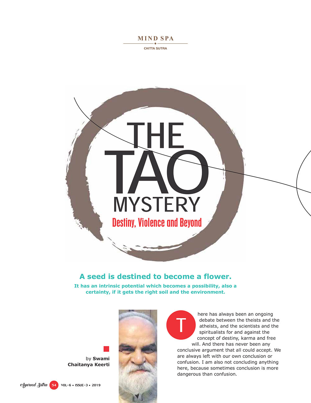 Ayurvedsutra Vol 06 issue 01 02 56 - The Tao Mystery Destiny, Violence and Beyond