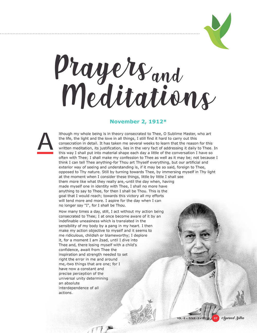 Ayurvedsutra Vol 06 issue 01 02 9 - Prayers and Meditations