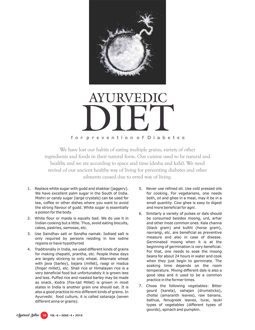 Ayurvedsutra Vol 06 issue 04 20 - Ayurvedic Diet for prevention of Diabetes