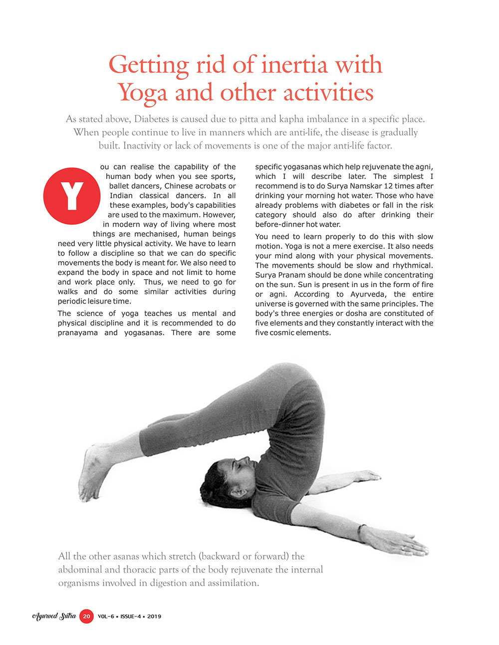 Ayurvedsutra Vol 06 issue 04 22 - Getting rid of inertia with Yoga and other activities