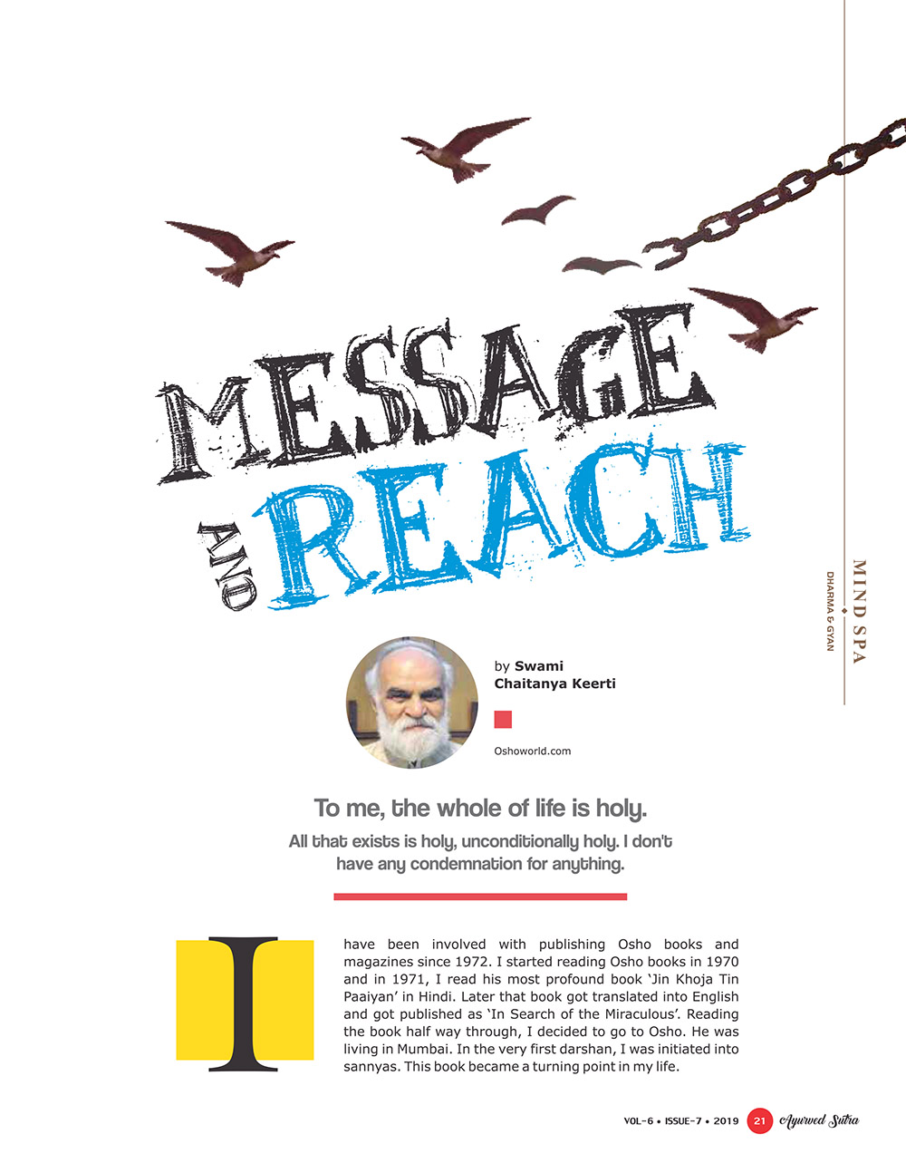 Ayurvedsutra Vol 06 issue 07 23 - Message and Reach